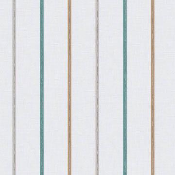 【ミッドセンチュリー】ライン刺繍のストライプのレースカーテン【UX-8655】ホワイト