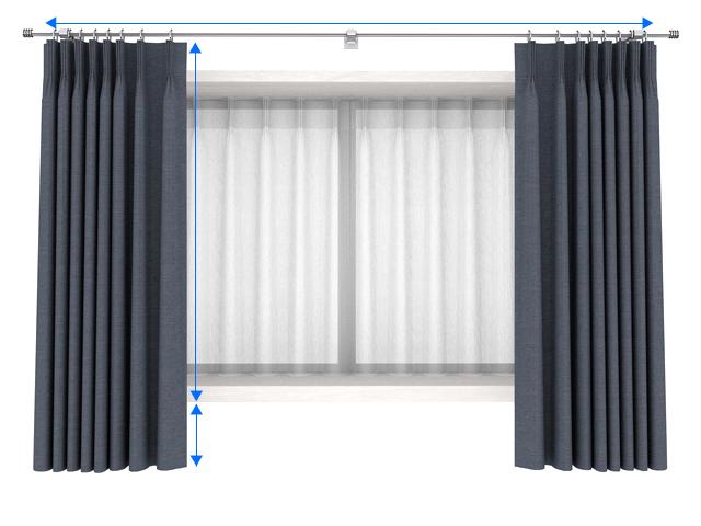 出窓のオーダーカーテンのサイズの測り方