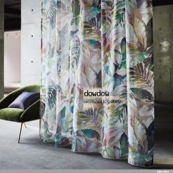 【イタリアン モダン】アートな植物デザインのレースカーテン【RX-3009】