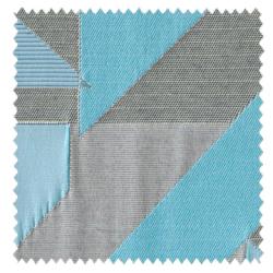 【ミッドセンチュリー】風通織のジオメトリック柄のドレープカーテン&シェード【SC-0109】ブルー&グレー