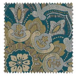 【クラシック・モダン】エキゾチックなアラベスク柄の遮光カーテン【SC-0410】ブルーグリーン