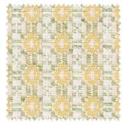 【北欧カントリー】花柄パターンの織柄のドレープカーテン【ES-2041】イエロー&グリーン