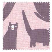 【北欧モダン】オシャレなネコ柄のドレープカーテン&シェード【HS-3102】ピンク