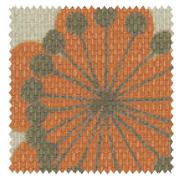 【北欧モダン】ボタニカル・プリントのドレープカーテン【LX-8048】オレンジ