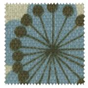 【北欧モダン】ボタニカル・プリントのドレープカーテン【LX-8049】ブルー