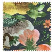【北欧モダン】初夏の牧草地の花々のプリントのドレープカーテン【SC-2054】ダークグリーン